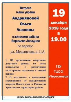 Встреча главы управы района Бирюлево Западное с населением в декабре