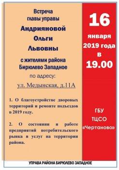 Встреча главы управы района Бирюлево Западное с населением в январе