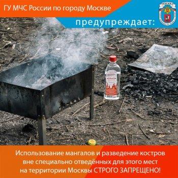 Использование мангалов и разведение костров вне специально отведённых для этого мест на территории Москвы СТРОГО ЗАПРЕЩЕНО!